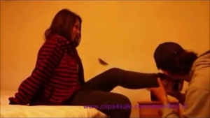 Skinny nasty bitch with blue sneakers is fucking her slave with hard, shemale cock