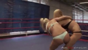 Sexy blonde in pro wrestling show
