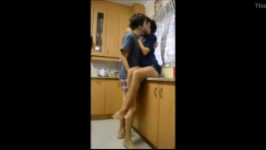 Petite, teen brunette is sucking ass and getting fucked in the kitchen instead of doing her job