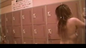 Classy Japanese brunette is wrestling with her friend's gigantic dick in the locker room